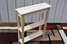 "Unfinished 24"" Narrow Console Sofa, Shaker Square Edge Pine Table w/2 Shelves"
