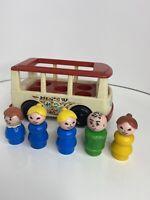 Fisher Price Vintage Mini Bus Mini Van Loaded Wooden People 100% Complete 1969