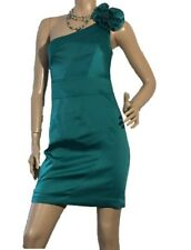REVIEW SIZE 8 EMERALD GREEN SATIN ONE SHOULDER DRESS FORMAL COCKTAIL OR EVENTS