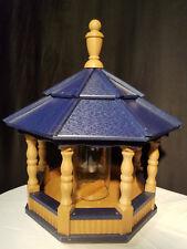 Poly Bird Feeder Amish Gazebo Handcrafted Homemade Cedar & Blue Roof