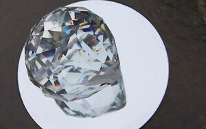 HUGE 70 MM FACETED LEAD CRYSTAL PRISM -OPTICALLY PURE-RAINBOWS-FREE SHIPPING