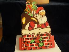 #3/8 vtg Christmas Card Holder container Painted Wood Japan