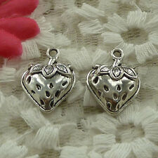 free ship 65 pieces Antique silver strawberry charms 20x15mm #3585