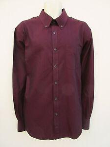 M&S Blue Harbour Luxury - Mens Dark Plum Cotton Long Sleeved Shirt - size XXL