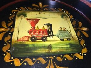 ANTIQUE PAINTED TOLEWARE TRAY,TRAIN HAULING COLONIAL SHEEP, ARTIST PETER OMPIR