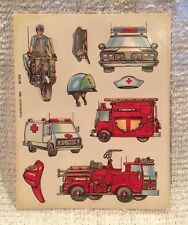 Vintage 1980's Dennison Emergency Vehicles Police Fire EMT Sticker Sheet  1982