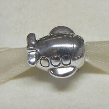 New Authentic Pandora Charm 790561 Airplane Bead W Tag & Suede Pouch