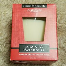 Candle Lite Essential Elements Jasmine & Patchouli Single Wick Soy Wax Blend 9OZ