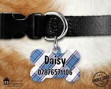 Personalised Pet ID Tag - ID Tag - Dog Tag - Dog Tags - Blue Plaid Tartan