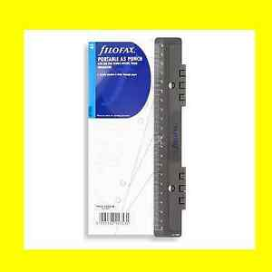 Filofax A5 Portable Plastic Hole Punch & Ruler 6 Holes 340119