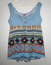 Dolled Up by Fang Women's top blue denim multi color loose fit size XL