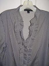 Lafayette 148 NY B&W short sleeve ruffle front shirt blouse 8