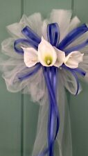 12 White Wedding Pew Bows With Cala  Lilies &  Royal Blue Ribbon or ANY COLOR