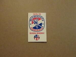 USHL Milwaukee Admirals Vintage 1975-76 Pocket Schedule