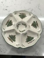 Vintage Spode Christmas Tree Hors d'Oeuvres Tray w/Original Box