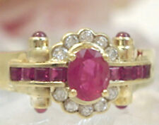 Vintage Fine Jewelry 14 kt  Gold Ruby Diamond Ring