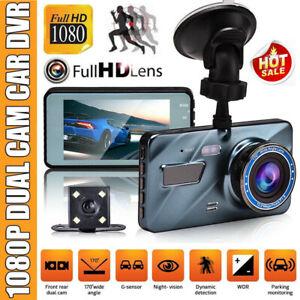 "4"" HD 1080P Car Dash Camera Recorder Dual Lens DVR Front And Rear Reverse Cam UK"