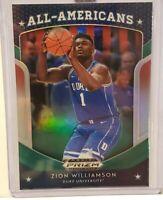 ZION WILLIAMSON ROOKIE CARD RC PANINI PRIZM NBA DRAFT GREEN RC PELICANS RARE!