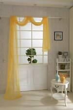 550 * 80cm Onglet Voile Solide Jaune Top Curtain Swag Écharpe Pelmet Sheer