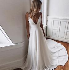 Sexy Deep V-neck Wedding Dress Satin Backless Lace Vestida de Novia Custom 2-26