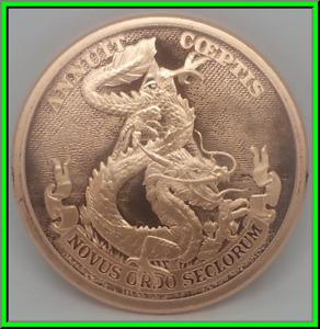 2019 2oz Dollar Dragon Silver Shield Copper BU Death of the Dollar #3