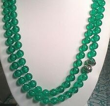"""Vintage Clear Green Bead Necklace 12"""" to 24"""""""
