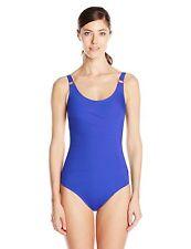 Calvin Klein Women's Solid Starburst Maillot 1 Piece Swimsuit 16 Atlantis 9701-2