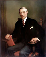 US President Woodrow Wilson Portrait Painting Real Canvas Art Print New