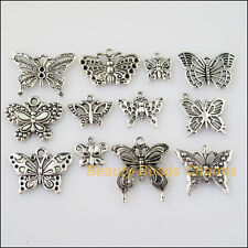 12Pcs Antiqued Silver Tone DIY/Animal Butterfly Mixed Charms Pendants