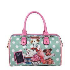 Nicole Lee Boston Tote Top Handle Handbag Hobo Purse Cupcake Print Medium Bag US