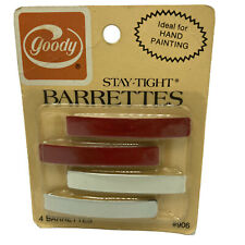 "Vintage 1970s Goody Stay Tight Barrettes Metal 2.25"" Red White Pkg 4 NOS 906"