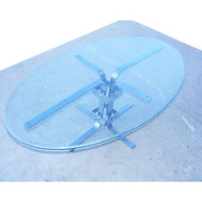 4ft Oval Chrome and Glass Industrial Coffee Table (MR7702)