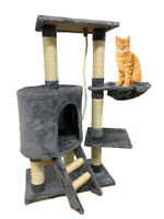 """New Gray 37"""" Cat Tree Condo Furniture Scratching Post Pet Cat Kitten House Funny"""