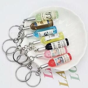 2× Key Chain Charm Wine Bottle Simulation Toy Bag Pouch Pendant Keyring Ornament