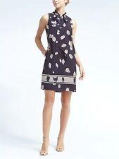 Banana Republic Print Tie-Neck Shift Dress, Dark Night SIZE SP      #783771 v831