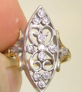 VICTORIAN GOLD SOLID 925 SILVER SIMULATED DIAMOND  CLUSTER RING SIZE Q