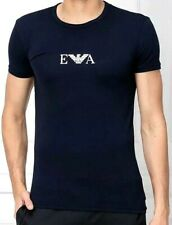 Mens EMPORIO ARMANI EA7 Stretch Cotton Logo Crew Neck T-Shirt Marine Size L