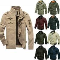 AU Mens Windbreaker Bomber Jackets Military Cargo Coats Tactical Outwear Winter