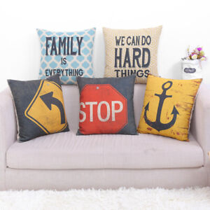 """Rustic Traffic Sign Throw Cushion Case Pillow Covers 18"""" Anchor Man Cave Decor"""
