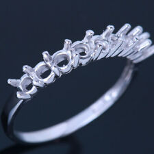 Semi-Mount Ring 3mm Round 10K White Gold Engagement Anniversary Band Prongs Ring