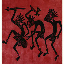 Couvre-lit Tenture indienne Danse Africaine 235 x 215 cm Bordeaux Coton Déco