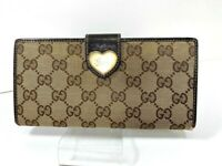 GUCCI Horse Bit GG Logo Pattern Heart Canvas Leather long Wallet Italy Y-1178