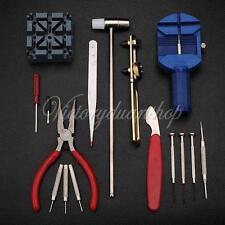 16 Pcs Horologe Watch Holder Punch Hammer Link Pin Remover Repair Set Kit Tools