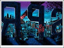 """Springfield"" SIMPSONS Glow in the Dark print by TIM DOYLE Nakatomi Artist BART"