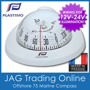 PLASTIMO FLUSH MOUNT OFFSHORE 75 WHITE MARINE/BOAT COMPASS 12V-24V Lighting