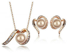 Wedding Shiny Bridal Jewellery Set Gold Champagne Pearls Necklace Earrings S541