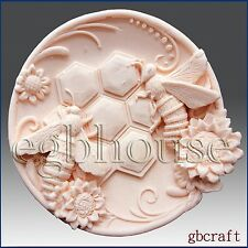 2D Silicone Soap Mold, plaster mold, polymer clay-Busy Bee Plate - Free Shipping
