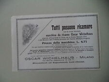 advertising Pubblicità 1912 MACCHINA PER CUCIRE OSCAR WICHELHAUS - MILANO