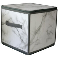 Marble Zippered Plastic Storage Bin Box, Stackable Foldable Container Organizer