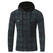 Men's Hoodie Plaid Flannel Shirt Long Sleeves Button-Front Casual Check Work Top